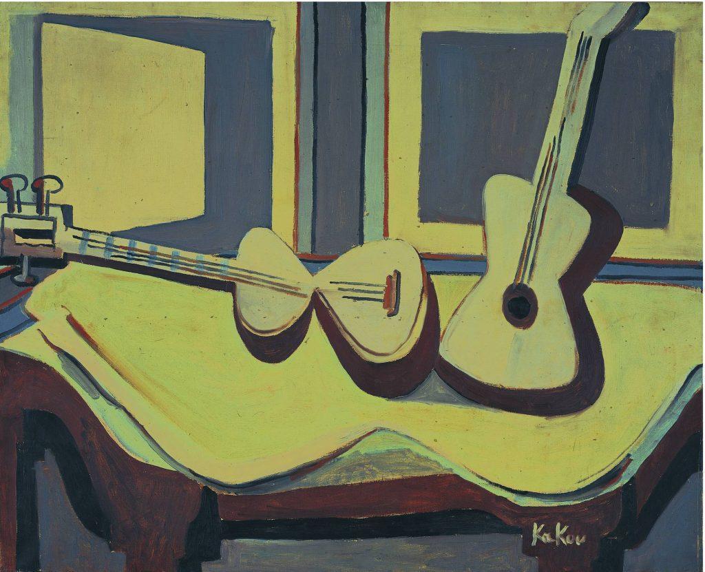 نقاشی کوبیس تار و گیتار از محمد علی شیوایی